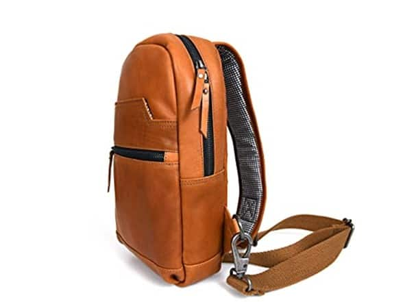 """Aaron Leather Company:  12.5"""" Men's Sling Bag $50, 10"""" Toiletry Travel Kit $25, 16"""" Crossbody Leather Messenger Bag $60 + Free Shipping w/ Prime"""