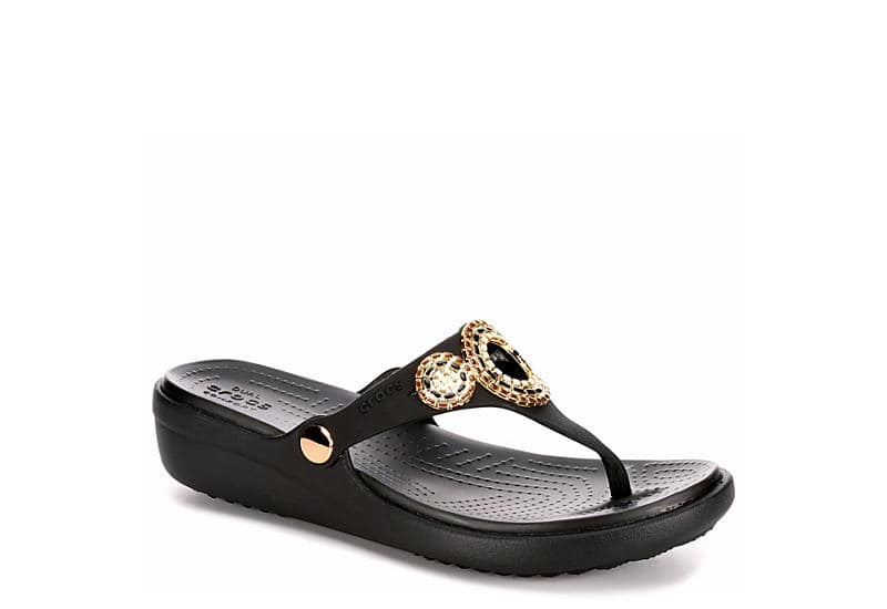 Crocs Women's Sanrah Diamante Wedge Sandal or Sanrah Hammered Wedge Sandal 2 for $40 ($20 each), More + Free Store Pickup at Rack Room Shoes