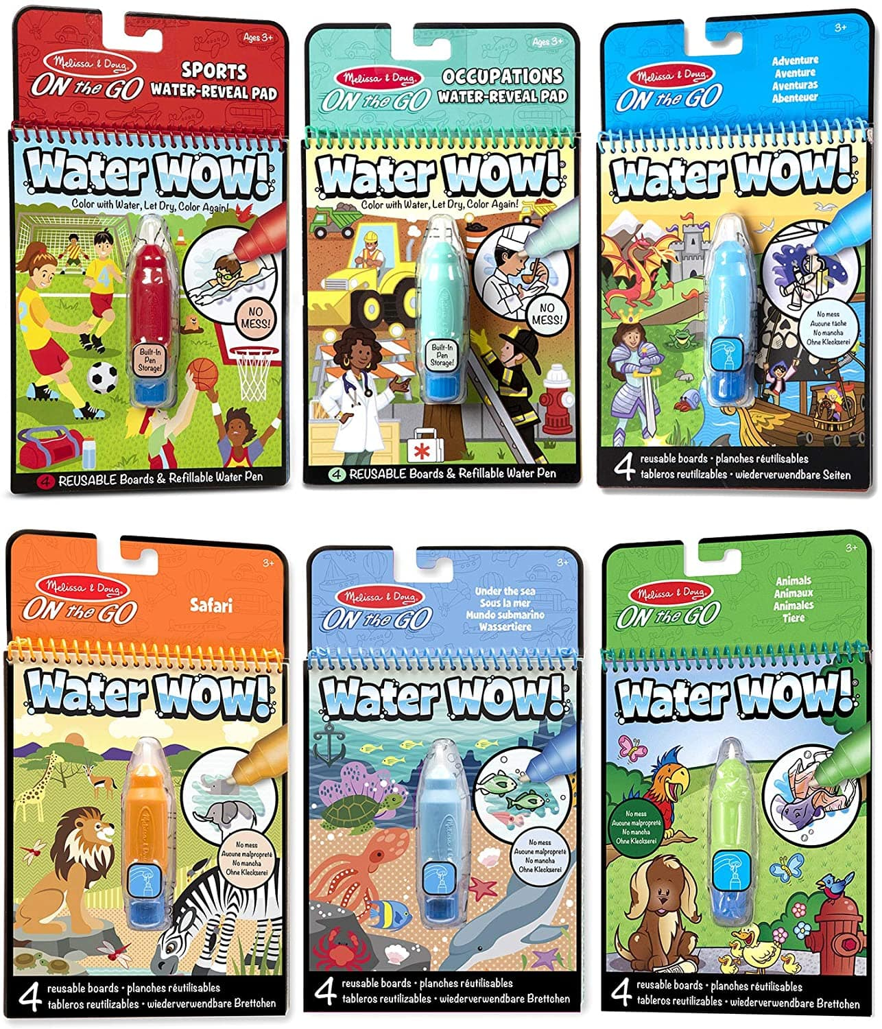 Melissa & Doug: 6-Pack On The Go Water Wow! $14, 4-Pack Reusable Sticker Pad Bundle $11.18, More + Free Shipping w/ Prime or on $25+