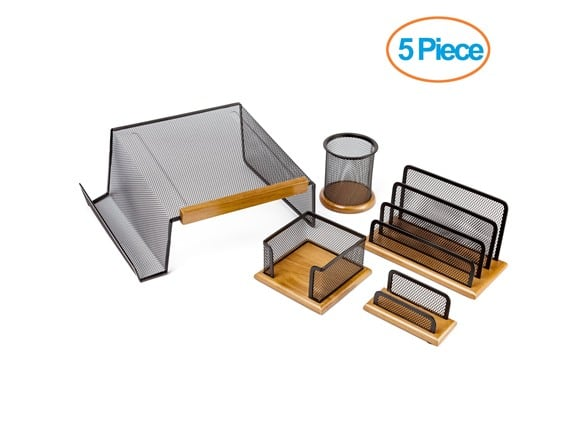 5-Piece Halter Executive Mesh Wood Office Desk Set $15 + Free Shipping w/ Prime