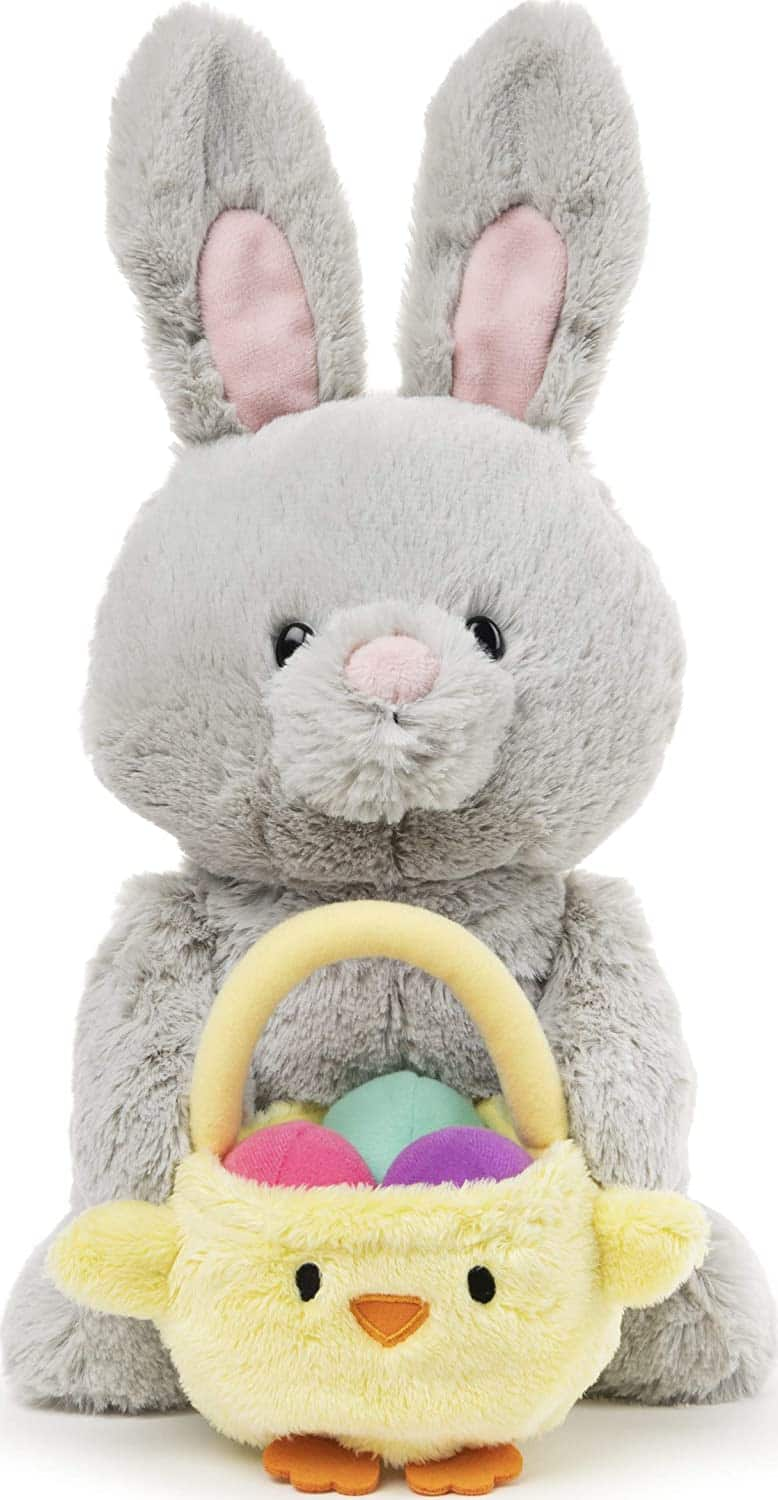"""10"""" GUND Bunny with Basket (Gray) $15 + Free Shipping w/ Prime"""