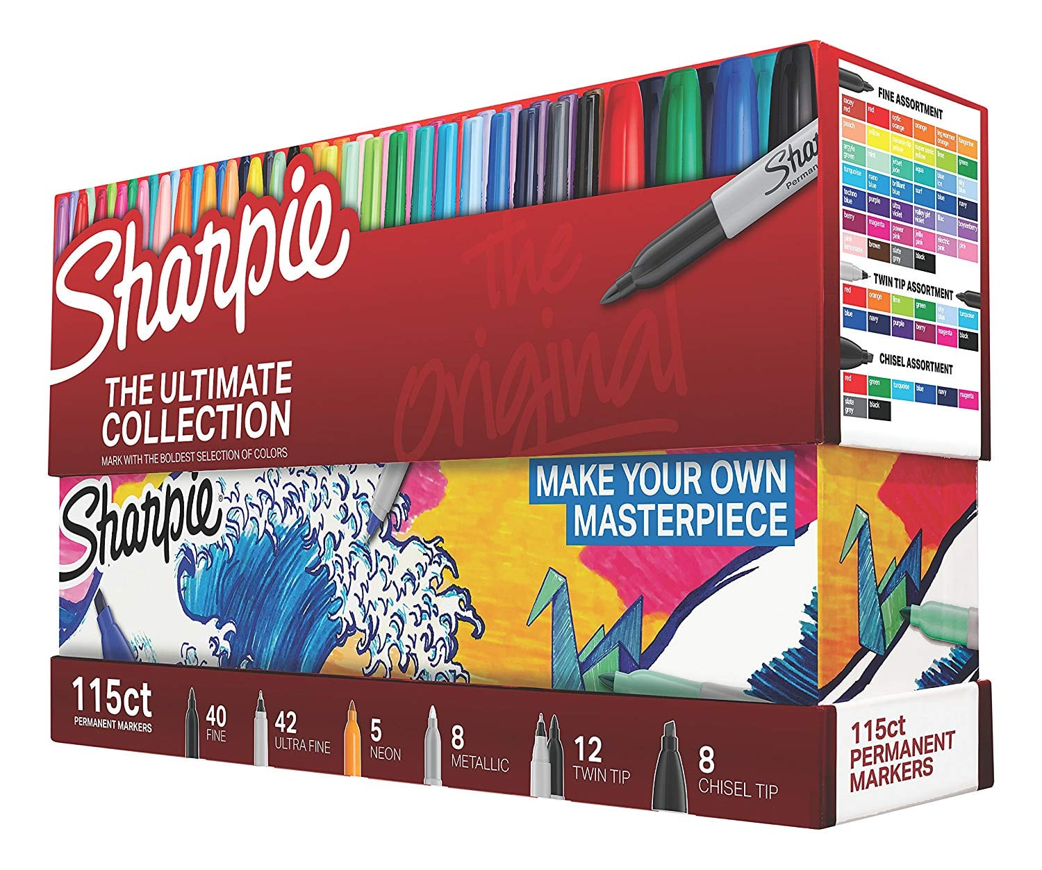 Sharpie 1983255 Permanent Markers Ultimate Collection, Fine and Ultra Fine Points, Assorted Colors, 115 Count [Standard Packaging, Fine + Ultra Fine + Twin + Chisel Tip] $49.34