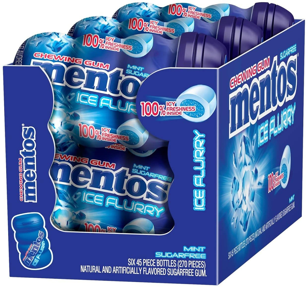Mentos Sugar-Free Chewing Gum, Ice Flurry, 45 Piece Bottle (Pack of 6) $9.58 AC
