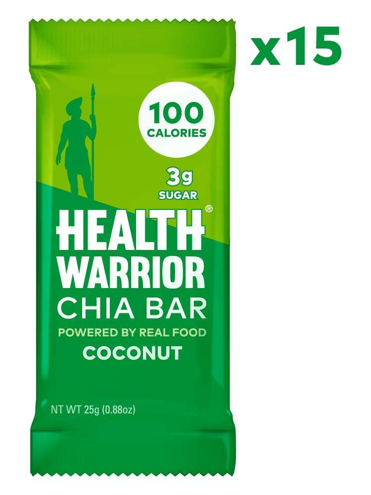 HEALTH WARRIOR Chia Bars, Coconut, Gluten Free, Vegan, 25g bars, 15 Count [Coconut] $10.06