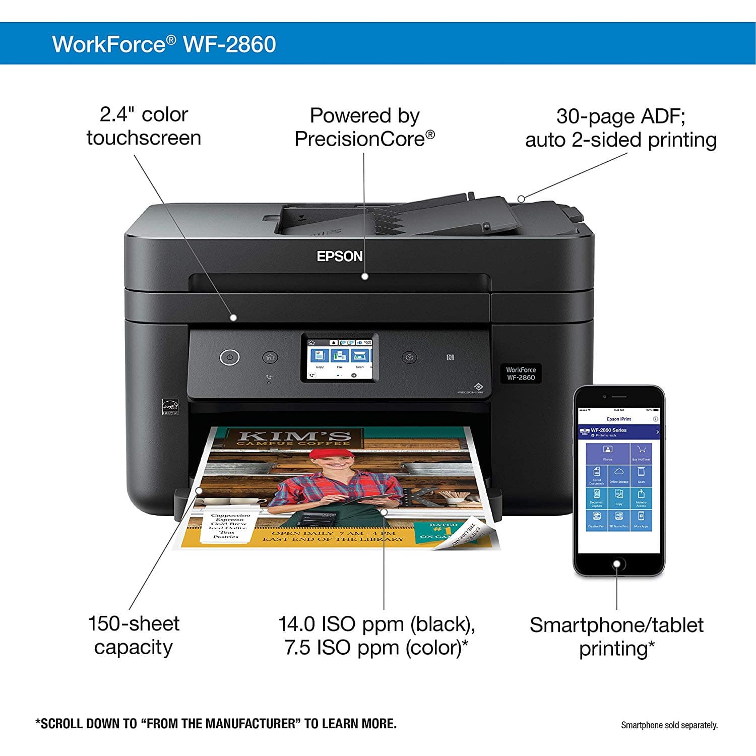 Epson Workforce WF-2860 All-in-One Wireless Color Printer with Scanner, Copier, Fax, Ethernet, Wi-Fi Direct and NFC - $49 @ Amazon
