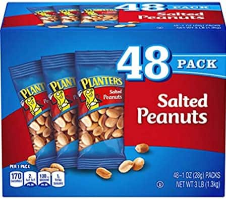 Planters salted peanuts 48  1.5 ounce bags = 72 ounces $7.11  amazon w/s&s