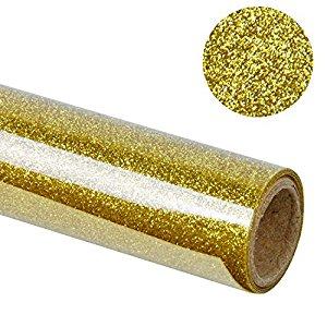 "RUSPEPA 20"" X 12"" Glitter Flake Heat Transfer Vinyl Roll for T-shirt, Garments Bags and Other Fabrics (Gold) $8.39"