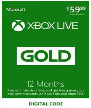 XBOX Live 12 Month Gold Subscription Membership Card $41.98