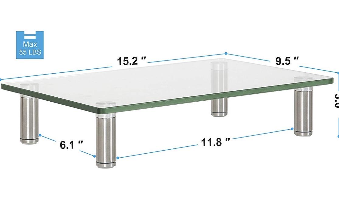 Glass Clear Computer Monitor Riser - $14.39 AC