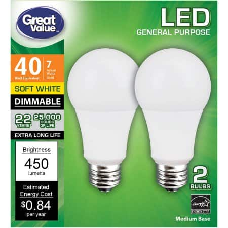 Great Value LED light bulb price mistake at Walmart.com, possible 4-pack of 60W soft white for $1.74 FS