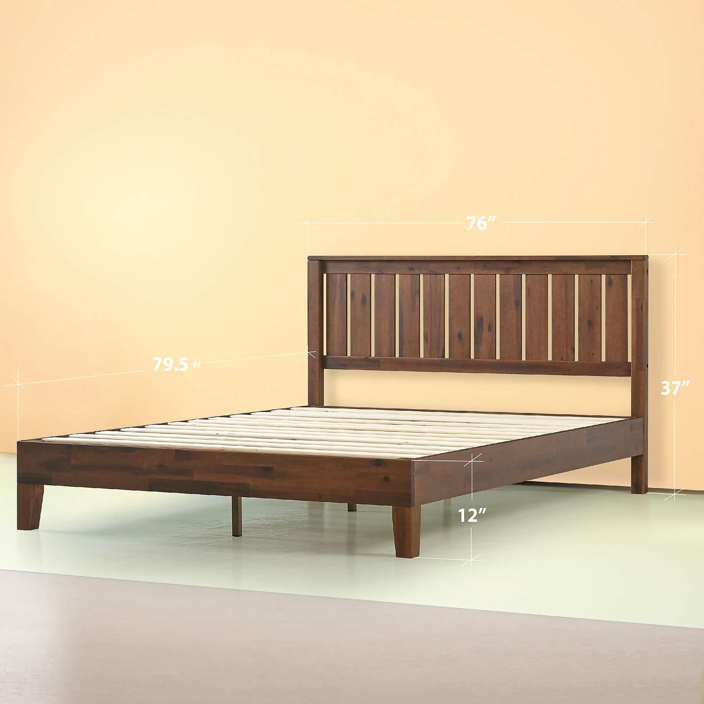 Zinus 12 Inch Deluxe Solid Wood Platform Bed with Headboard/No Box Spring Needed/Wood Slat Support/Antique Espresso Finish, Queen [Deluxe] $198.41