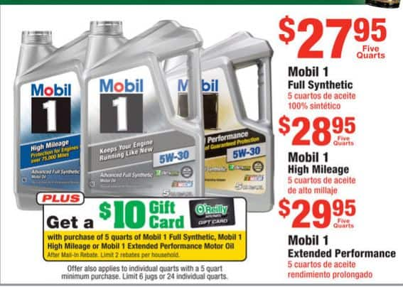 Mobil 1 Full Synthetic $17.95 after $10 O'Reilly Gift Card Mail in Rebate - Limit 2
