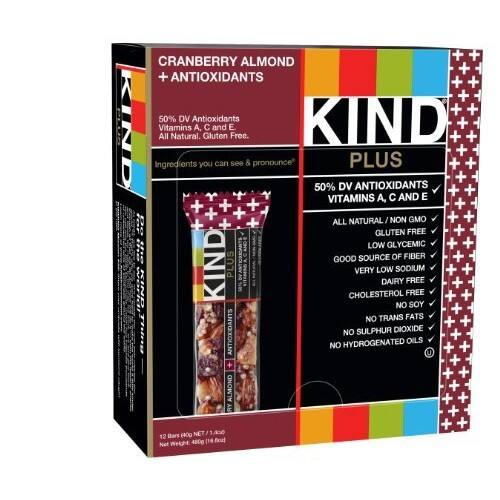 KIND Bars, Cranberry Almond + Antioxidants, Gluten Free, 1.4 Ounce Bars, 12 Count [Standard Packaging, Cranberry Almond] $8.39