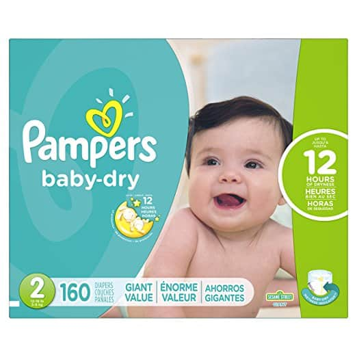 160 Count Pampers Baby Dry Diapers Size 2 Slickdealsnet