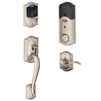 Home Depot Schlage Connect Camelot Touchscreen Deadbolt with Alarm and Handleset with Accent Interior Lever in Satin Nickel or Aged $180 and more Free shipping 9-13-17 only