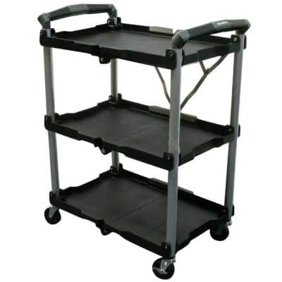 Home Depot 3-Shelf Collapsible 4-Wheeled Multi-Purpose Utility Cart in Black $50 & 4' x 5' Black Steel Workbench with Built-In Power and Lighting $90 Free Shipping 9-19-17 only