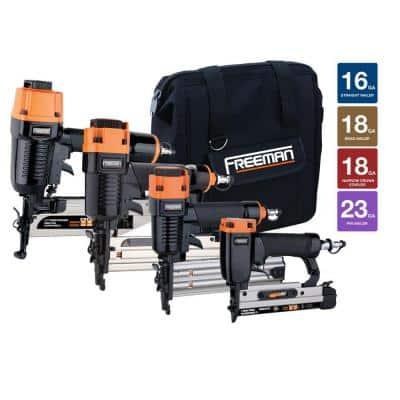 Home Depot Freeman nailer kit 4 piece $150, Freeman 3 in one flooring kit $140, Ryobi air strike brad nailer $150, compressors, nailers, & more Free Shipping 9-29-17 only