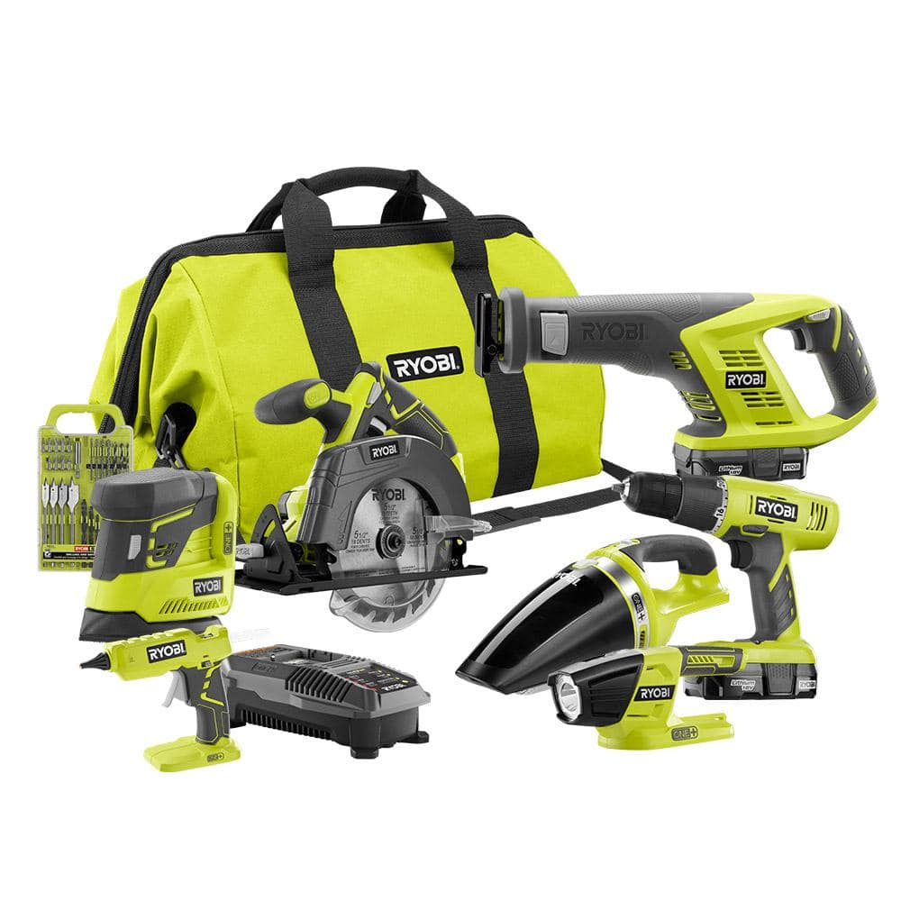 Home Depot Ryobi 18-Volt ONE+ Cordless Lithium-Ion 7-Tool Combo Kit with (2) 1.3 Ah Batteries, Charger and Bag  $179 Free Shipping 11-25-17 only
