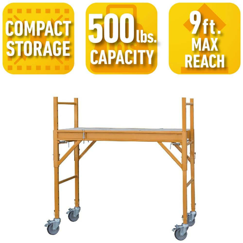 Home Depot ladders and scaffolds ex.PRO-SERIES 4 ft. x 2 ft. x 4 ft. Mini Multi-Use Drywall Baker Scaffold with 500 lb. Load Capacity $90 free shipping 1-1-18