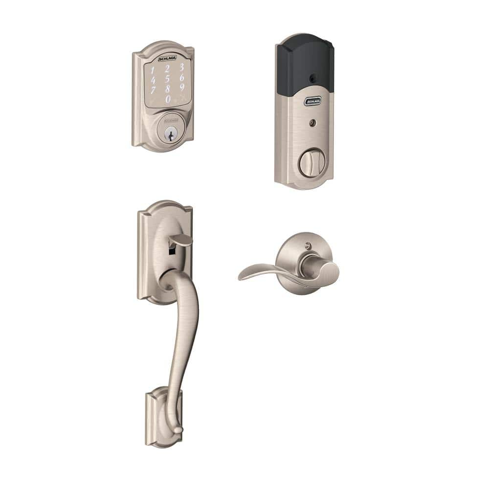 Home Depot Schlage Camelot Satin Nickel Sense Smart Lock with Left Handed Accent Lever Door Handleset $199 & more Free Shipping 1-18-18 only