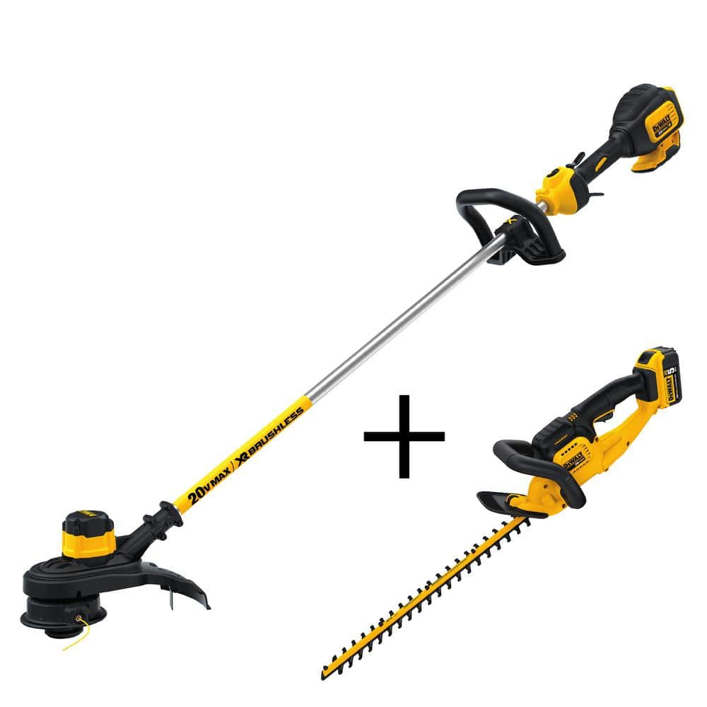 Home Depot Dewalt cordless deals: ex. DEWALT 13 in. 20-Volt MAX Lithium-Ion Cordless Brushless String Trimmer w/Hedge Trimmer, 5.0Ah Battery & Charger $270 Free Shipping 4-10 only