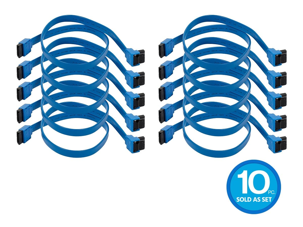 Monoprice 18in SATA 6Gbps Cable with Locking Latch (90-degree to 180-degree), Blue 10-pack $4 with promo code SATA10 Free shipping