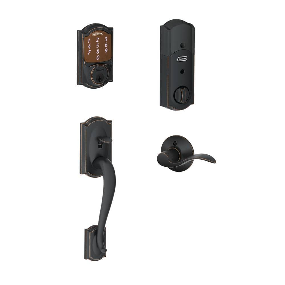 Home Depot  Schlage Camelot Aged Bronze Sense Smart Lock with Right Handed Accent Lever Door Handleset$229 & more Free Shipping 5-15-18 only