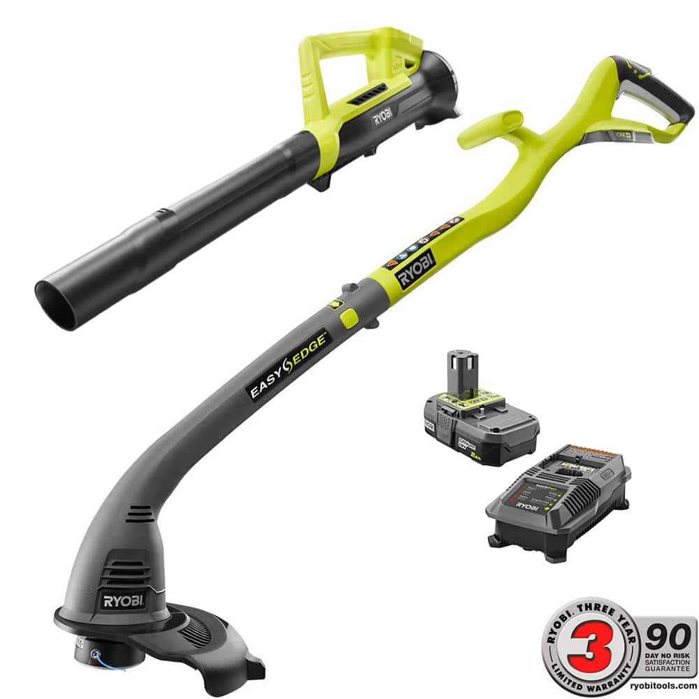 Home depot Ryobi ONE+ 18-Volt Cordless String Trimmer/Edger and Blower/Sweeper Combo Kit (2-Tool) - 2.0 Ah Battery and Charger Included  $70 (usually $99) in store 5-27-18 only