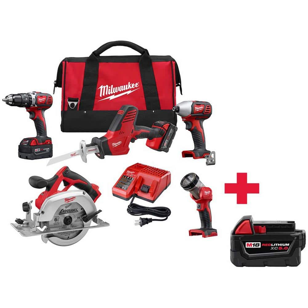 Home Depot Milwaukee M18 18-Volt Lithium-Ion Cordless Combo Kit (5-Tool) , w/ 2 3.0 Ah batteries  & Free 5.0Ah Battery Pack $399