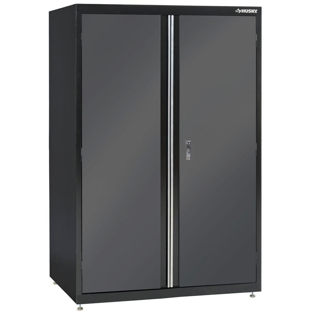 Home Depot Husky 72 in. H x 46 in. W x 24 in. D Welded Steel Floor Cabinet in Black/Gray  $275 Free Shipping 7-5-18 only