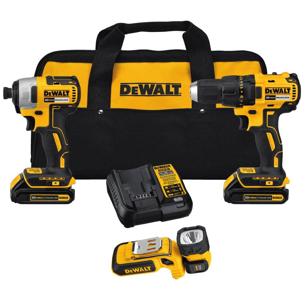 Home Depot DEWALT 20-Volt MAX Lithium-Ion Cordless Brushless Drill/Driver & Light Combo Kit $149, Maxfit 140 piece drill/driver $30, & more Free Shipping 2-18-19 only