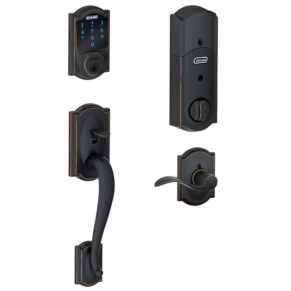 Home Depot Schlage Camelot Aged Bronze Connect Smart Lock with Alarm and Accent Lever Handleset $179 & more Free Shipping 10-21-19 only