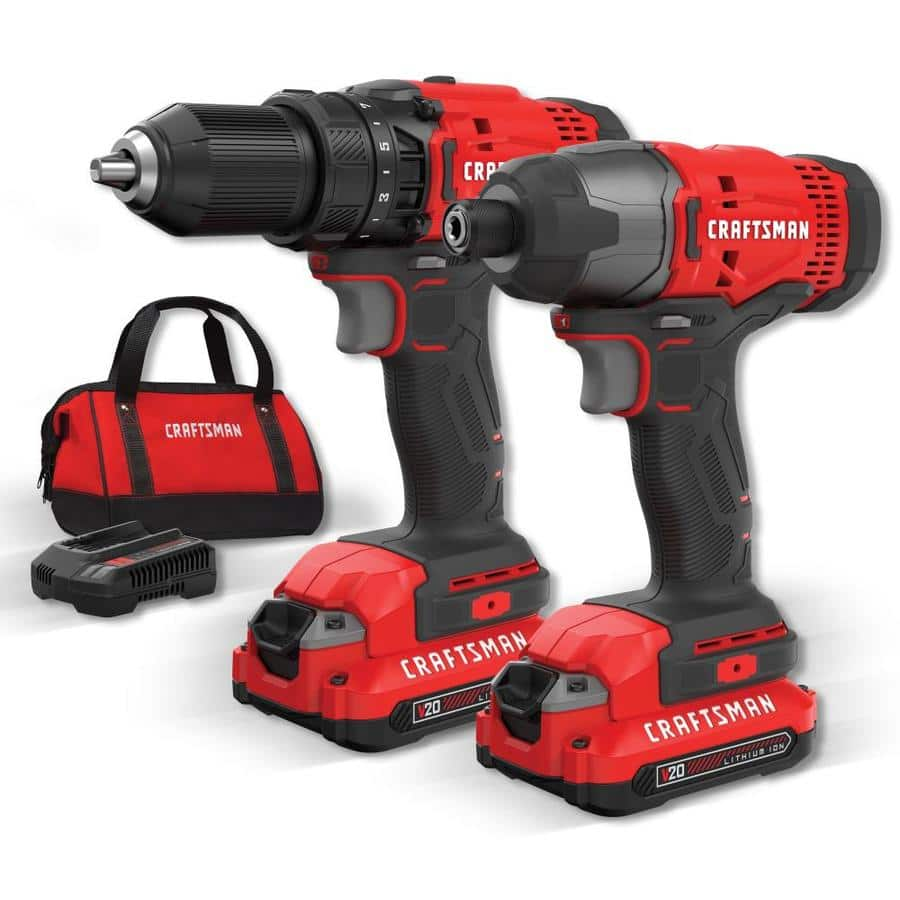 CRAFTSMAN V20 2-Tool 20-Volt Max Power Tool Combo Kit with Soft Case (Charger Included and 2-Batteries Included)  $99.00