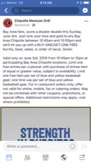 Chipotle SF Bay Area BOGO Sunday June 3 for Warriors