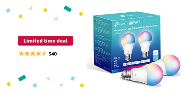 Limited-time deal: Kasa Smart Light Bulbs, Full Color Changing Dimmable Smart WiFi Bulbs Compatible with Alexa and Google Home, A19, 9W 800 Lumens,2.4Ghz only, No Hub Req - $21.99