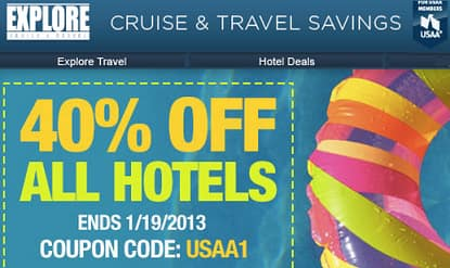 USAA Members - Save 40% off hotels booked by 1/19 (Can join USAA for free)