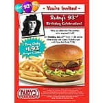 Ruby's Diner - Classic RubyBurger & Fries for $1.93 on Monday, July 27, 2015