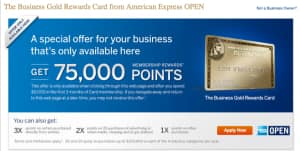 75,000 Point Offer for Business Gold Rewards American Express