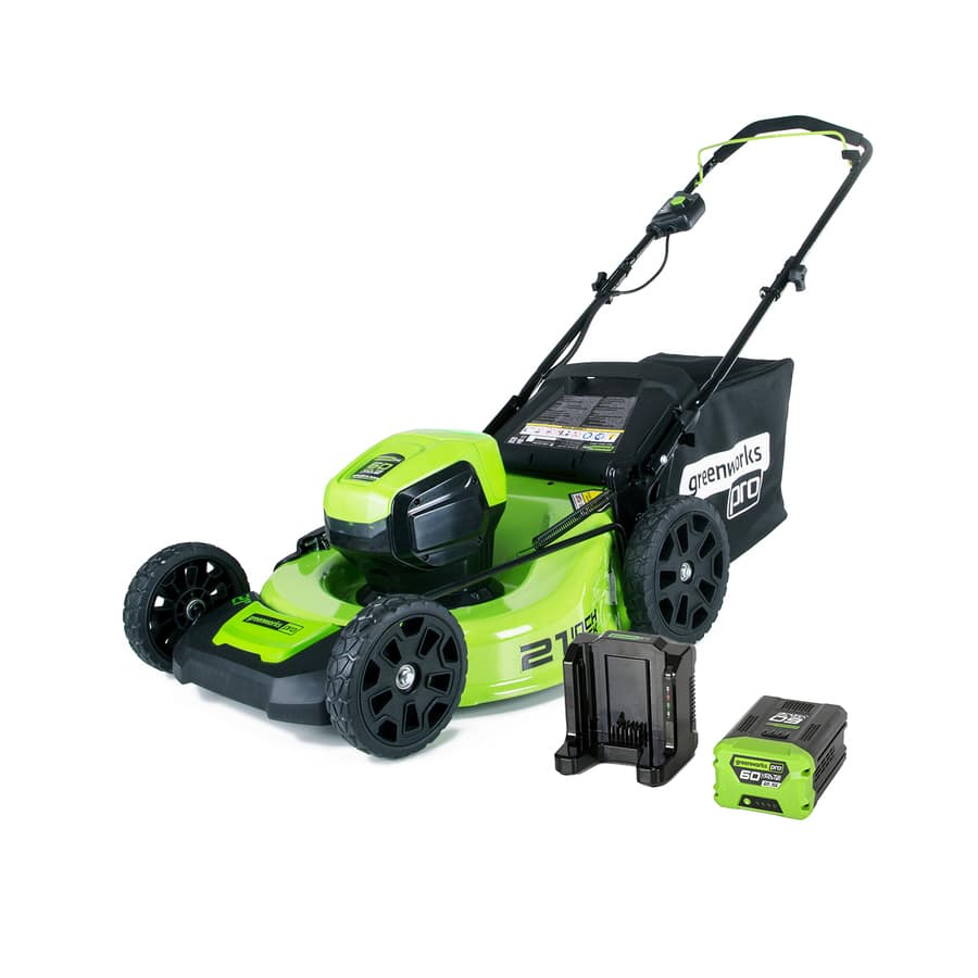 GreenWorks Pro 60-Volt Brushless Lithium Ion 21-in Mower with 4aH battery and charger for $299 @ Lowes B&M