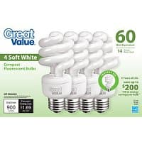 Walmart Deal: Great Value 14W Soft White CFL Lightbulbs, 4-Pack $0.88 YMMV Walmart