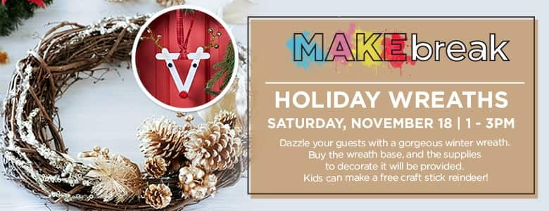 Michael's in store event Free craft stick reindeer for kids (also free decoration supplies if you buy a wreath base) Saturday, November 18 1-3 pm