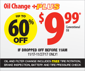 Oil change plus $9.99 (free tire rotation, brake inspection) 11/17-11/27 AutoTire B&M YMMV
