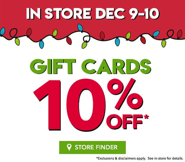 CLAIRES 10% OFF Gift Cards in store this weekend 12/9 - 12/10