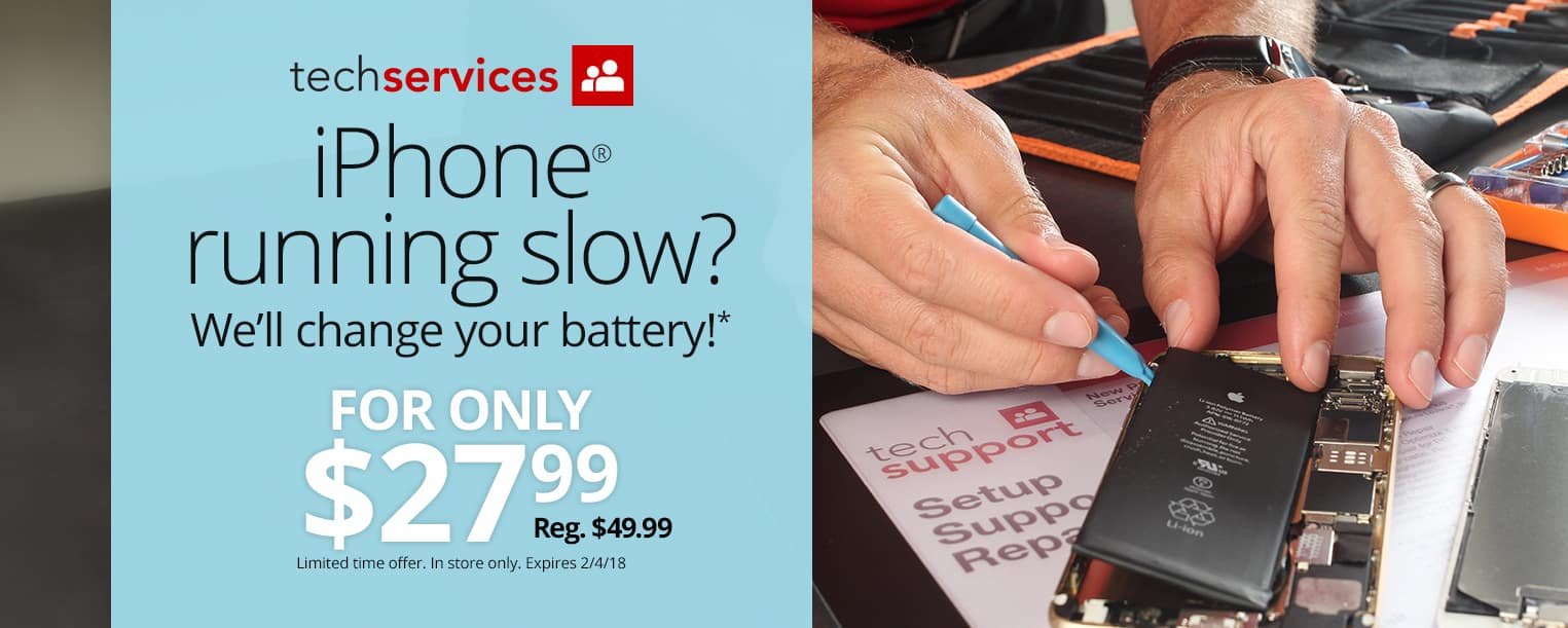 Office Depot OfficeMax Same Day* Battery Replacements $27.99 for iPhone 5C, 5S, SE, 6, 6 Plus, 6S, 6S Plus, 7, 7 Plus B&M YMMV