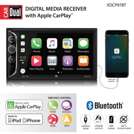 Dual Electronics XDCP97BT 6.2 inch Double DIN with Built-In Apple CarPlay, Bluetooth & USB Port $175 -  Walmart