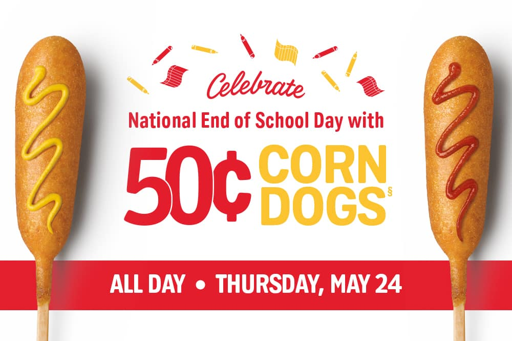 SONIC Drive-In 50¢ Corn Dogs ALL DAY on 5/24 $0.5
