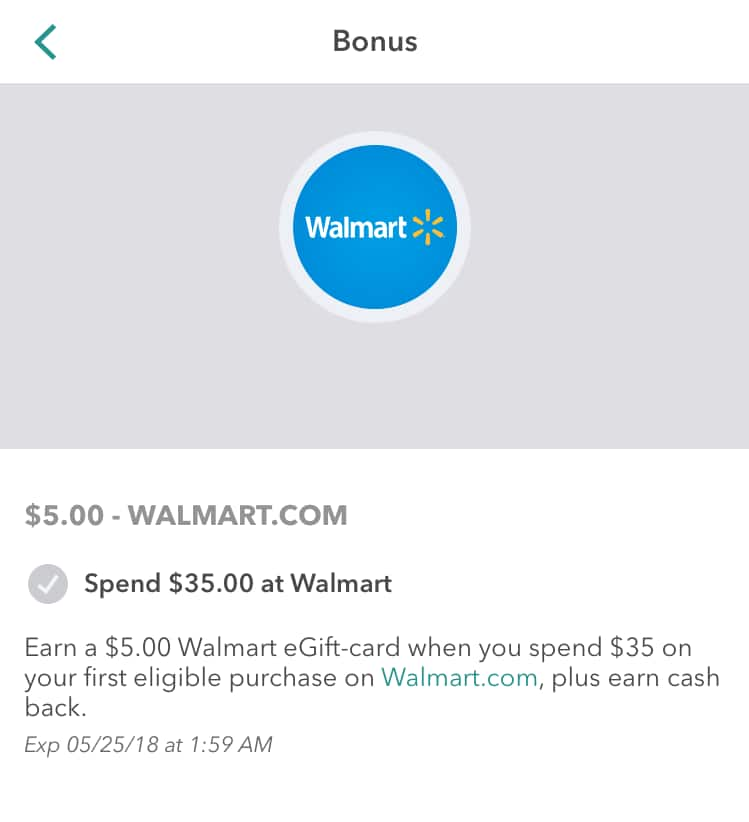 Ibotta app users only - $5 Walmart eGift card with First $35 walmart.com purchase YMMV