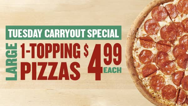 Large 1-Topping Pizza $4.99 Carry-out Papa John's *YMMV*
