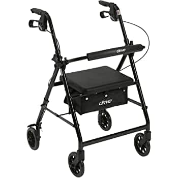 """Drive Medical Aluminum Rollator Walker Fold Up and Removable Back Support, Padded Seat, 6"""" Wheels, Black $43.65 FS Amazon"""