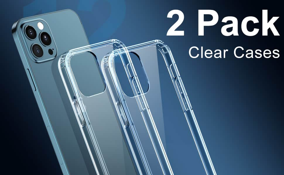[2 Pack] CTYBB Compatible with iPhone 12 Case, Compatible with iPhone 12 Pro Case, 6.1 inch, Clear - $3.99 FS w/ Prime